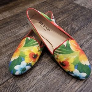 Jon Josef  Floral Linen Loafer Flats
